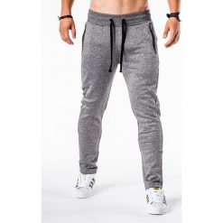 SPODNIE MĘSKIE DRESOWE P549 - GRAFITOWE. Szare spodnie dresowe męskie Ombre Clothing, z bawełny. Za 49,00 zł.
