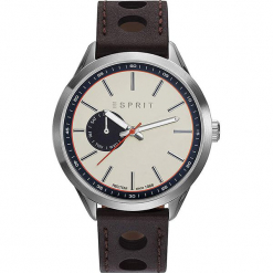 Zegarek kwarcowy w kolorze ciemnobrązowo-srebrno-beżowym. Brązowe, analogowe zegarki męskie Esprit Watches, ze stali. W wyprzedaży za 295,95 zł.