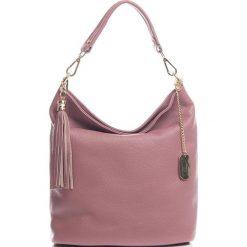 Torebki klasyczne damskie: Skórzana torebka w kolorze brudnego różu – 26 x 28 x 12 cm