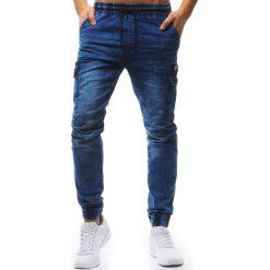 Joggery męskie: Joggery męskie denim look niebieskie (ux1233)