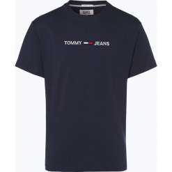 Tommy Jeans - T-shirt męski, niebieski. Niebieskie t-shirty męskie z nadrukiem Tommy Jeans, m, z bawełny. Za 179,95 zł.