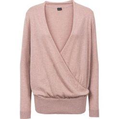 Swetry klasyczne damskie: Sweter kopertowy bonprix stary jasnoróżowy