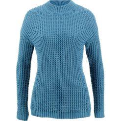 Sweter ze stójką i strukturalnym wzorem bonprix niebieski dżins. Niebieskie swetry klasyczne damskie bonprix, ze stójką. Za 99,99 zł.