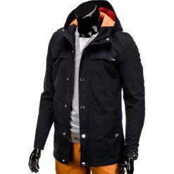 KURTKA MĘSKA PRZEJŚCIOWA PARKA C310 - CZARNA. Czarne kurtki męskie przejściowe Ombre Clothing, m, z bawełny. Za 99,00 zł.