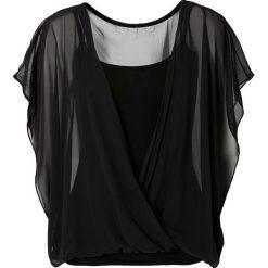 Bluzka shirtowa bonprix czarny. Czarne bluzki asymetryczne bonprix, z dżerseju, z kopertowym dekoltem. Za 79,99 zł.