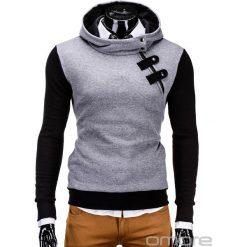 BLUZA MĘSKA Z KAPTUREM PACO - GRAFITOWO-CZARNA. Czarne bluzy męskie rozpinane marki Ombre Clothing, m, z bawełny, z kapturem. Za 69,00 zł.