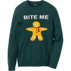 Swetry męskie: Sweter Slim Fit bonprix zielony