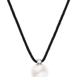 Naszyjniki damskie: Naszyjnik w kolorze czarnym z zawieszką z perłą i diamentem – dł. 42 cm