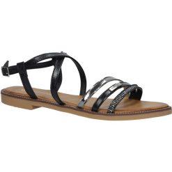 Czarne sandały płaskie Casu LS007. Czarne sandały damskie Casu, na płaskiej podeszwie. Za 39,99 zł.