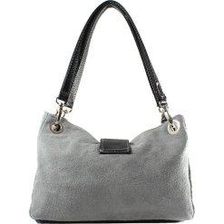 Torebki i plecaki damskie: Skórzana torebka w kolorze szarym – 26,5 x 18 x 12 cm