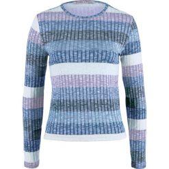 Sweter w prążek, w paski bonprix ciemnoniebieski w paski. Niebieskie swetry klasyczne damskie marki bonprix, z nadrukiem. Za 59,99 zł.