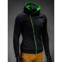 BLUZA MĘSKA ROZPINANA Z KAPTUREM PRIMO - CZARNO/ZIELONA. Czarne bluzy męskie rozpinane marki Ombre Clothing, m, z bawełny, z kapturem. Za 75,00 zł.