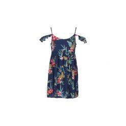 Sukienki krótkie Roxy  DO IT MY WAY. Niebieskie sukienki hiszpanki Roxy, s, z krótkim rękawem, mini. Za 215,20 zł.