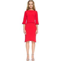 Odzież damska: Czerwona Elegancka Bluzka z Falbankami przy Rękawach
