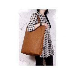 Mega Shopper bag ruda torba oversize Vegan. Brązowe shopper bag damskie Hairoo, w paski. Za 170,00 zł.