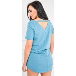 Bluzki asymetryczne: Bluzka tunika asymetryczna z krótkim rękawem