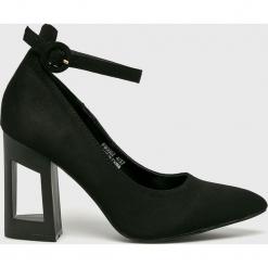 Answear - Sandały Spot on. Czarne sandały damskie na słupku marki ANSWEAR, z materiału. Za 149,90 zł.