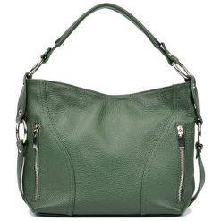 Torebki i plecaki damskie: Skórzana torebka w kolorze zielonym – (S)25 x (W)32 x (G)8,5 cm