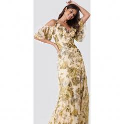 Trendyol Sukienka maxi z nadrukiem w kwiaty - Beige,Multicolor. Szare długie sukienki marki Trendyol, na co dzień, z elastanu, casualowe, dopasowane. W wyprzedaży za 141,98 zł.