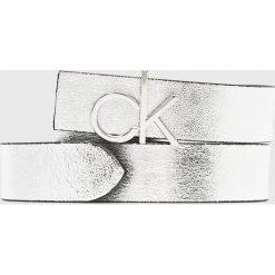 Calvin Klein - Pasek. Szare paski damskie marki Calvin Klein, w paski, ze skóry ekologicznej. Za 299,90 zł.