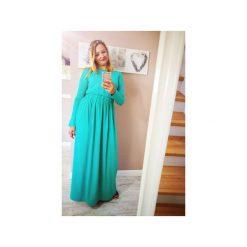 SUKIENKA LONG MAXI MIĘTA. Zielone długie sukienki marki Soleil, na co dzień, xs, z dekoltem w łódkę, dopasowane. Za 125,30 zł.