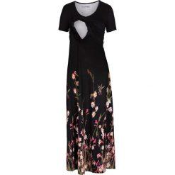 Długie sukienki: Długa sukienka ciążowa i do karmienia bonprix czarny w kwiaty