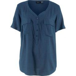 Bluzki damskie: Bluzka z wiskozy, krótki rękaw bonprix ciemnoniebieski
