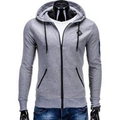 Bluzy męskie: BLUZA MĘSKA ROZPINANA Z KAPTUREM B554 – SZARA
