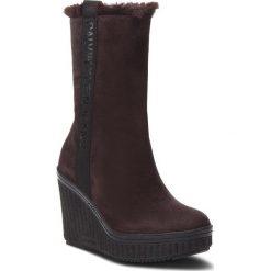 Kozaki CALVIN KLEIN JEANS - Shuana RE9767 Dark Brown. Brązowe buty zimowe damskie Calvin Klein Jeans, z jeansu, na obcasie. Za 769,00 zł.