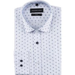 Koszula SIMONE slim KDWS000501. Białe koszule męskie na spinki Giacomo Conti, m, z tkaniny, z włoskim kołnierzykiem, z długim rękawem. Za 169,00 zł.