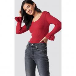 Trendyol Sweter z dekoltem v - Red. Szare swetry klasyczne damskie marki Vila, l, z bawełny, z okrągłym kołnierzem. Za 80,95 zł.