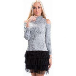 Sukienki: Sukienka z golfem i tiulem szaro-czarna 6551