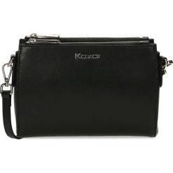 Czarna torebka przez ramię. Czarne torebki klasyczne damskie Kazar, w paski, ze skóry. Za 599,00 zł.
