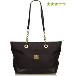 Shopper bag damskie: Skórzany shopper bag w kolorze czarnym - 32 x 25 x 12 cm