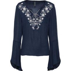 Bluzki damskie: Bluzka bonprix ciemnoniebiesko-biel wełny z haftem