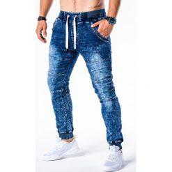 SPODNIE MĘSKIE JEANSOWE JOGGERY P551 - NIEBIESKIE. Niebieskie joggery męskie Ombre Clothing, z bawełny. Za 84,00 zł.