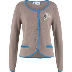 Swetry rozpinane damskie: Sweter rozpinany w ludowym stylu, z haftem, długi rękaw bonprix brunatno-niebieski