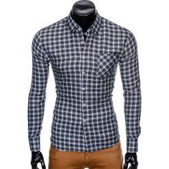 KOSZULA MĘSKA W KRATĘ Z DŁUGIM RĘKAWEM K429 - GRAFITOWA/GRANATOWA. Brązowe koszule męskie na spinki marki Ombre Clothing, m, z aplikacjami, z kontrastowym kołnierzykiem, z długim rękawem. Za 59,00 zł.