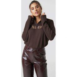 NA-KD Bluza z suwakiem - Brown. Brązowe bluzy rozpinane damskie NA-KD, z bawełny, z długim rękawem, długie. Za 161,95 zł.
