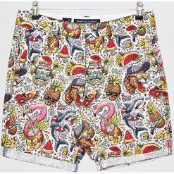 Szorty z nadrukiem jungle - Biały. Białe szorty męskie marki Cropp, z nadrukiem. W wyprzedaży za 49,99 zł.
