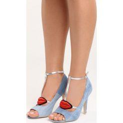 Niebieskie Sandały Red Lips. Czerwone sandały damskie marki Born2be, z aplikacjami, z denimu, na wysokim obcasie, na obcasie. Za 79,99 zł.