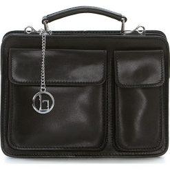 Torebki klasyczne damskie: Skórzana torebka w kolorze czarnym – 25 x 20 x 10 cm