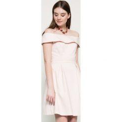 Vila - Sukienka. Szare sukienki balowe marki Vila, l, z bawełny, z dekoltem w łódkę, mini, rozkloszowane. W wyprzedaży za 119,90 zł.