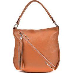 Torebka w kolorze koniaku - (S)34,5 x (W)31 x (G)8 cm. Brązowe torebki klasyczne damskie Bestsellers bags, w paski, z materiału. W wyprzedaży za 259,95 zł.