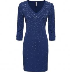 Sukienka ze sztrasami bonprix kobaltowy. Niebieskie sukienki na komunię bonprix. Za 79,99 zł.