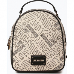 Love Moschino - Plecak damski, biały. Białe plecaki damskie Love Moschino, z napisami, ze skóry. Za 599,95 zł.