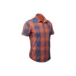Koszula turystyczna krótki rękaw TRAVEL100 FRESH męska. Brązowe koszule męskie na spinki marki QUECHUA, m, z elastanu, z krótkim rękawem. W wyprzedaży za 44,99 zł.