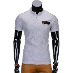 T-SHIRT MĘSKI BEZ NADRUKU S665 - SZARY. Szare t-shirty męskie z nadrukiem Ombre Clothing, m, z bawełny, ze stójką. Za 35,00 zł.