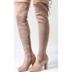 Beżowe Kozaki Get Enough. Brązowe buty zimowe damskie vices, z materiału, na wysokim obcasie, na obcasie. Za 94,99 zł.