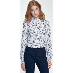 Bluzki damskie: Bluzka Koszulowa ze Stójką Wzór w Kwiaty